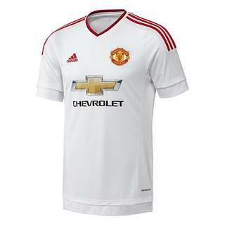 Red and white Manchester United away jersey