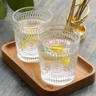 復古波希米亞風凹凸浮雕玻璃杯水杯茶杯。太陽花圖案 vintage chic embossed patterned glasses glass cups