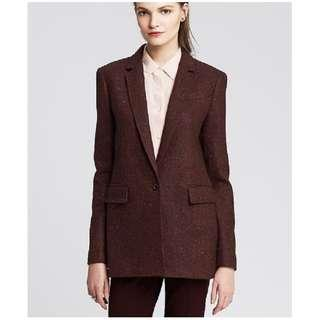 Womens Burgundy Wool Blazer
