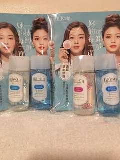 四支Bifesta cleansing lotion & eye makeup remover sample 30ml