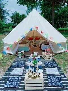 tent for booking with picnic set for 6pax .