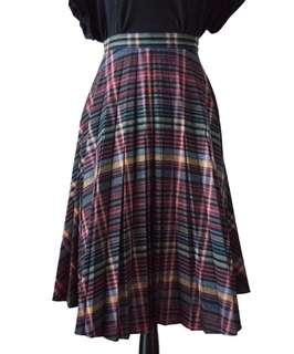 Vintage Plaid A-line Skirt