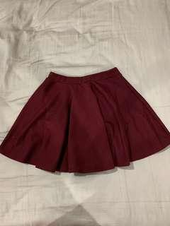Wine red colour short skirt