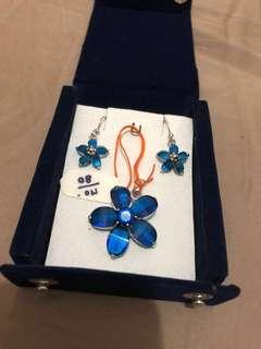 Floral Blue Pendent & Earring Gift Set