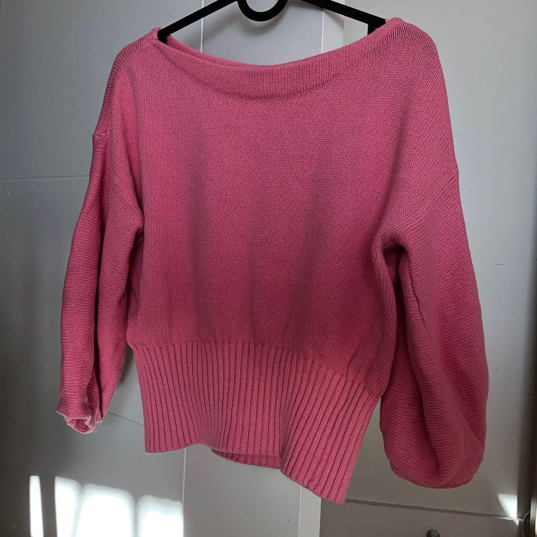 Anthropologie pink crop knitted sweater XS