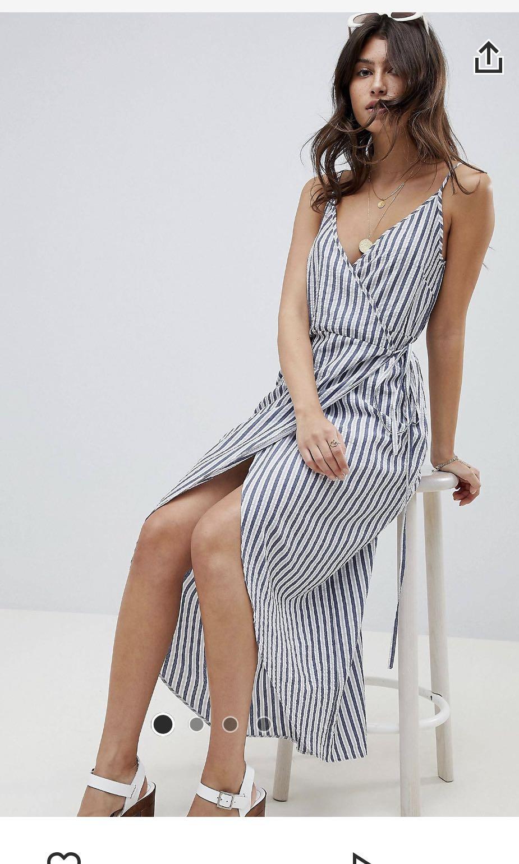 0bc822a6bb8 ASOS DESIGN cami wrap maxi dress in stripes