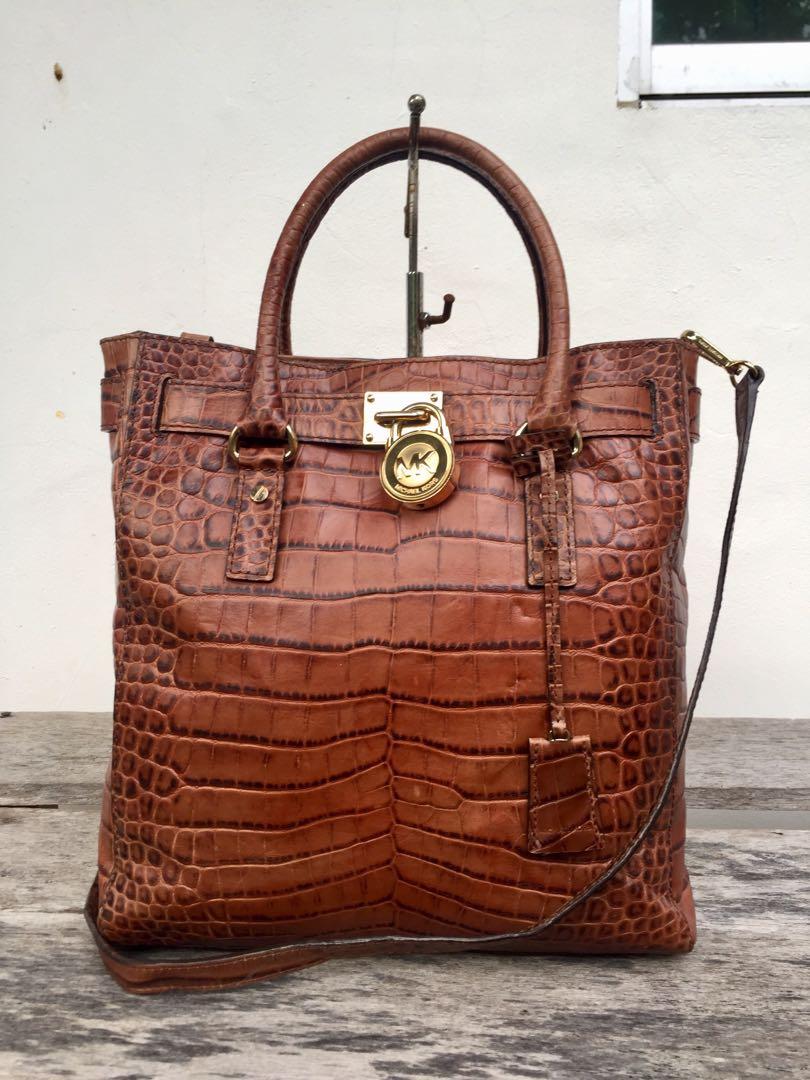 2b506b8d26fc Authentic Michael Kors Hamilton Croc Embossed Leather 2 Way Bag ...