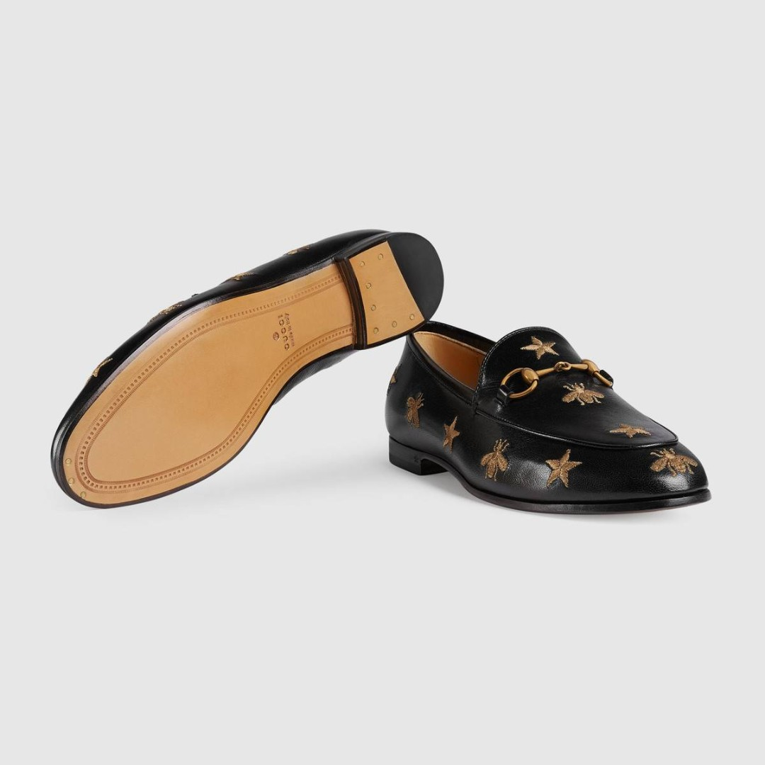 9d3531a16d9 Black Gucci Jordaan embroidered leather loafer