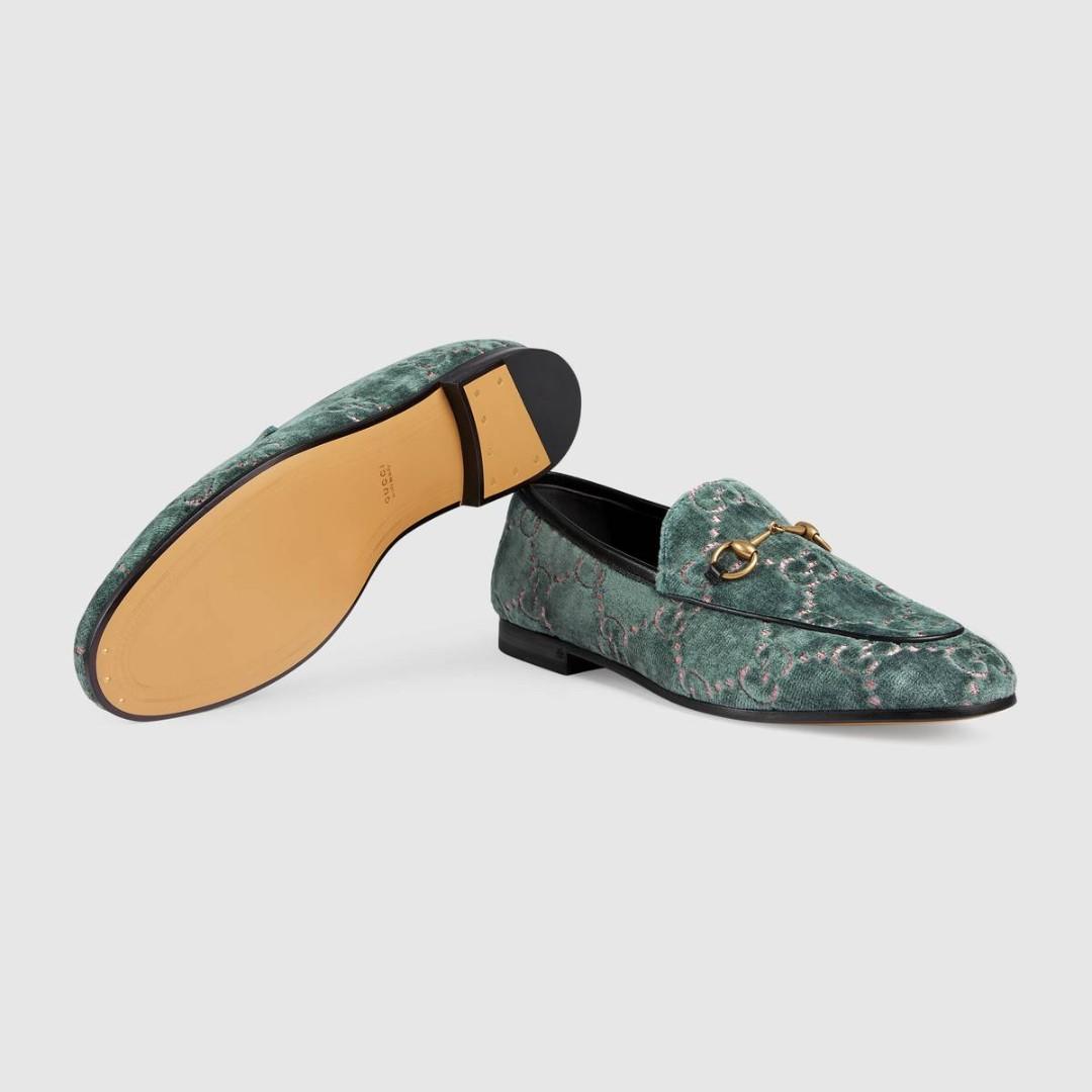 1596973f3e1 Blue   Pink Gucci Jordaan GG velvet loafer