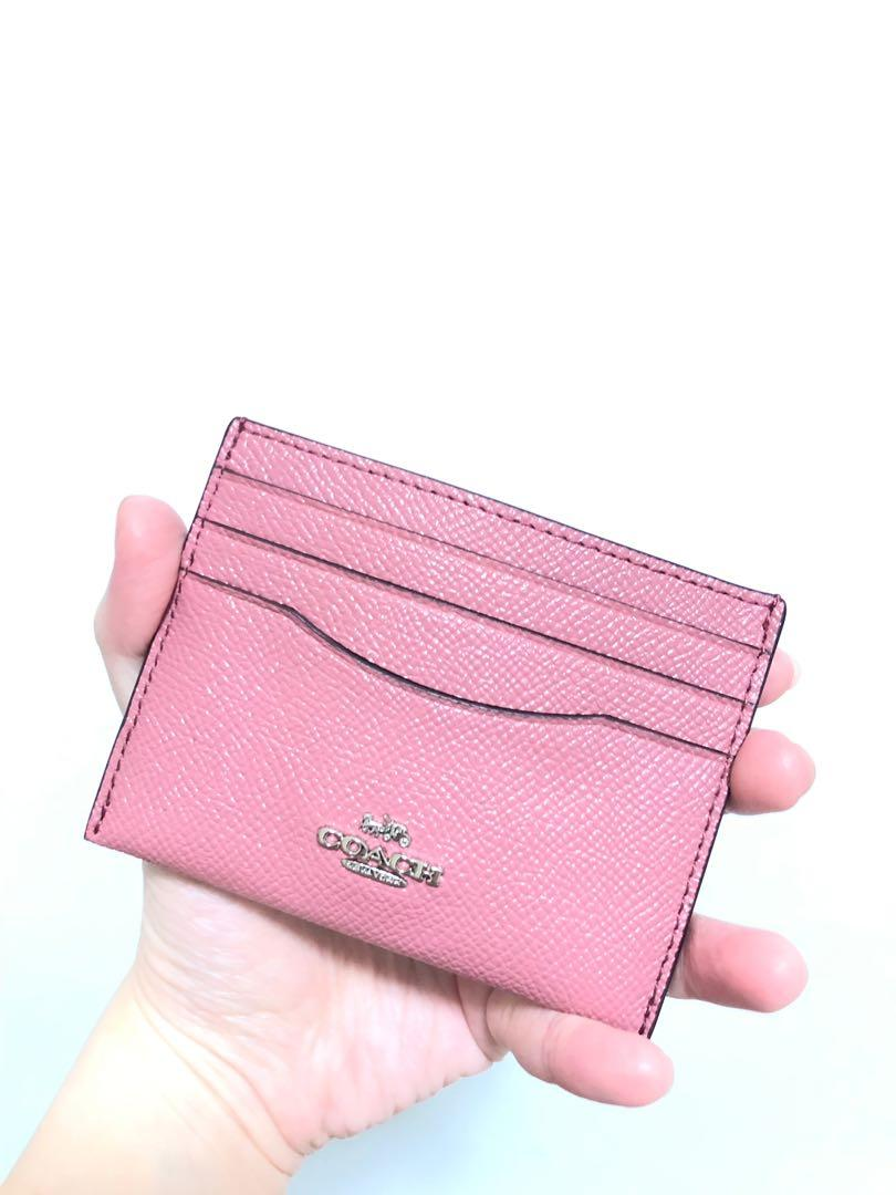 5162fb3ab7d Coach Women's Leather Card Case Wallet (pink), Women's Fashion, Bags ...