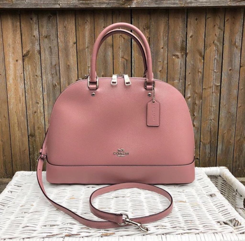 385f8585531b39 Coach patent crossgrain leather sierra satchel in dusty rose