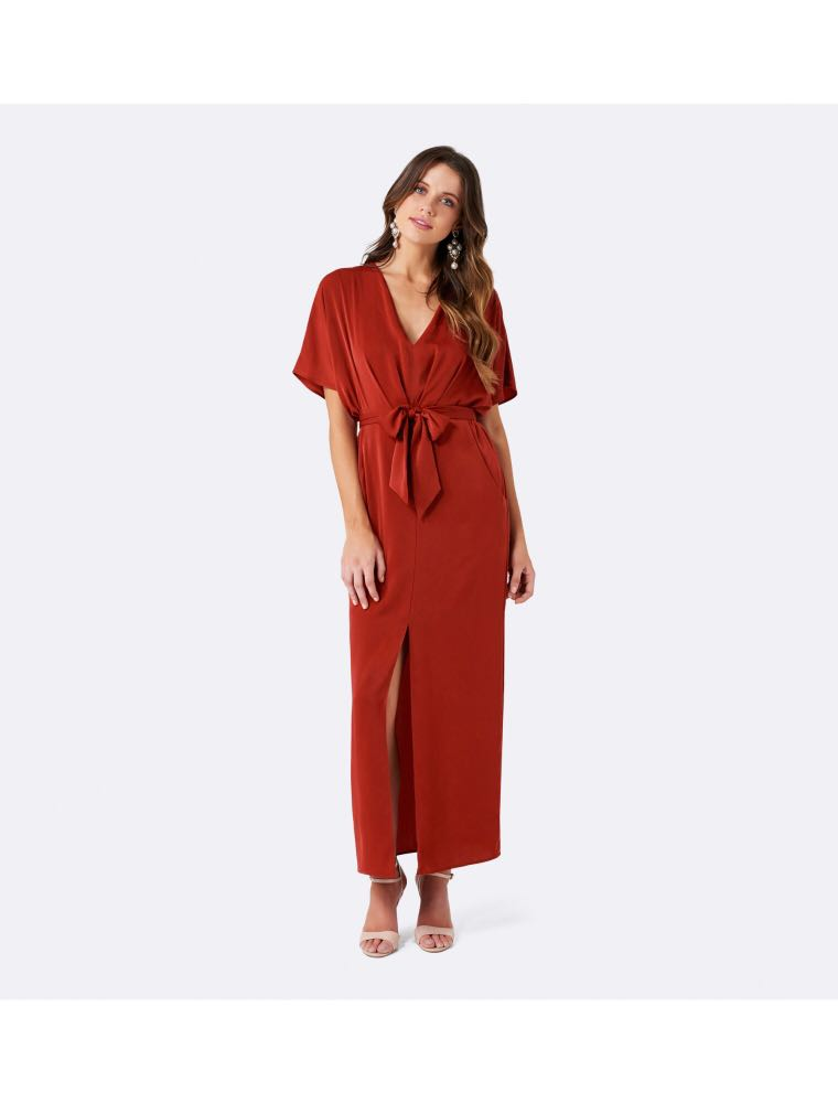 670d6d41a Forever New Mia Kimono Tie Front Dress in Rust, Women's Fashion ...