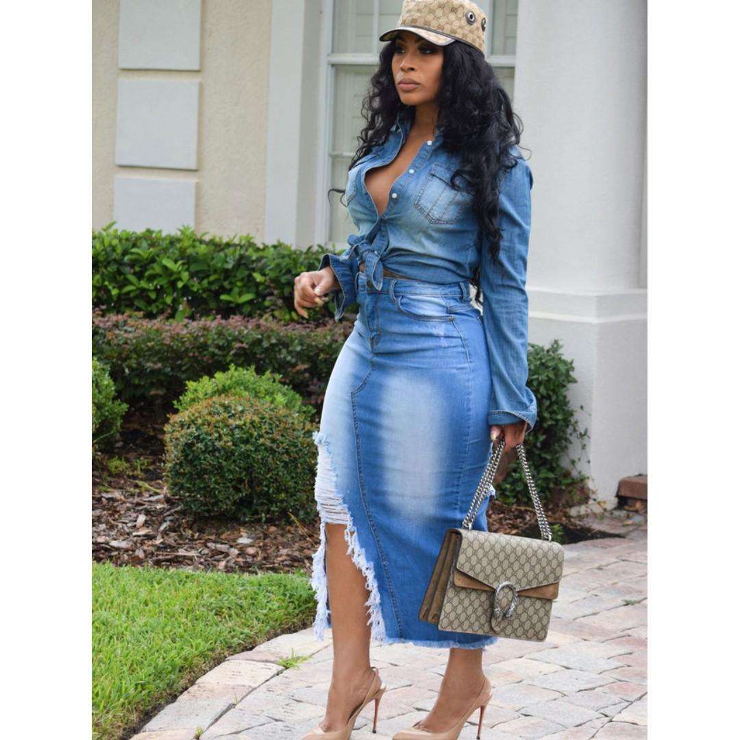 71b366ab5 High Waist Worn Out Maxi Denim Skirt, Women's Fashion, Clothes ...