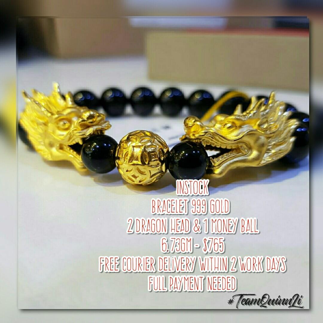 2c8e182c5 INSTOCK] Bracelet 999 Gold 2 Dragon Head & 1 Money Ball #FREE ...