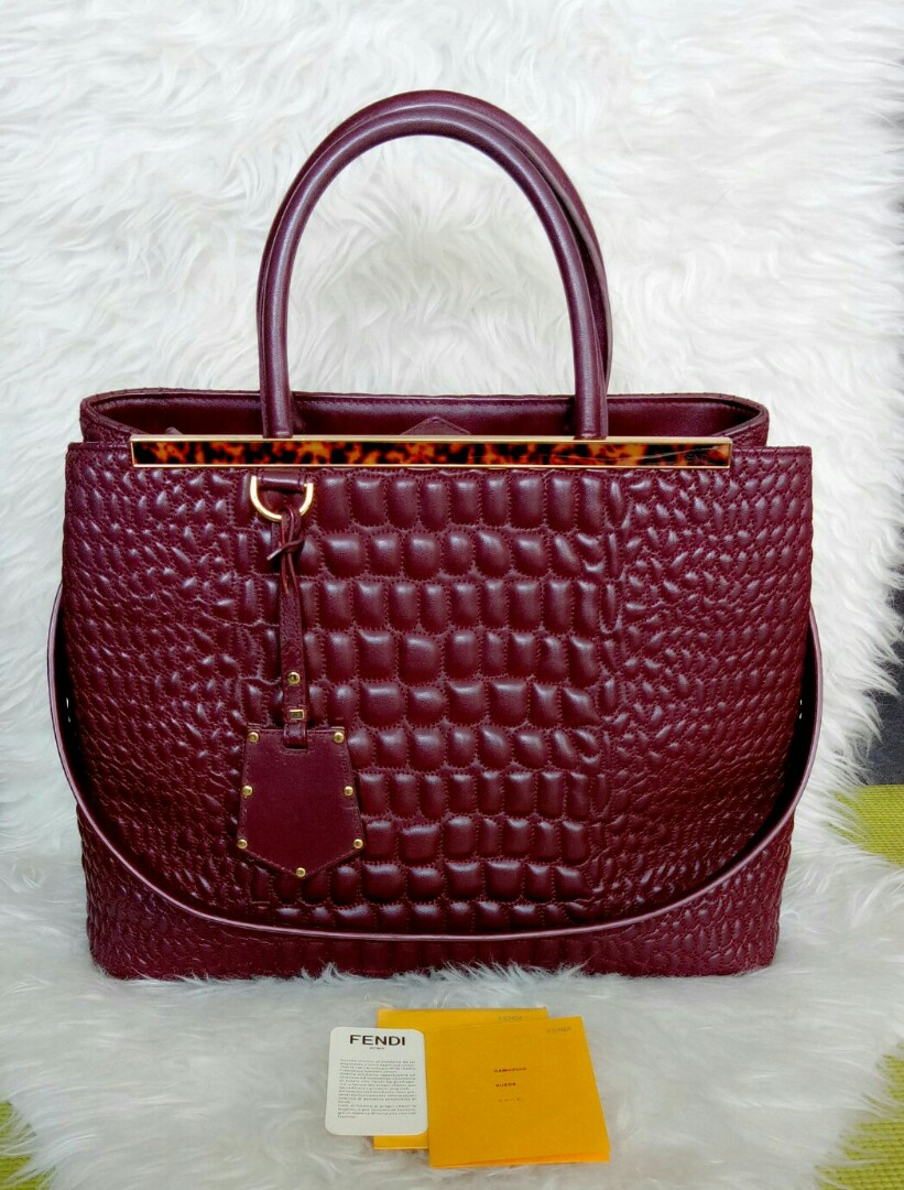 1820a4382b47 Jual Tas Fendi Croco Embossed Fendi 2jours Original Preloved Second  Authentic Hermes Chanel Louis Vuitton LV Gucci Dior Fendi Bag