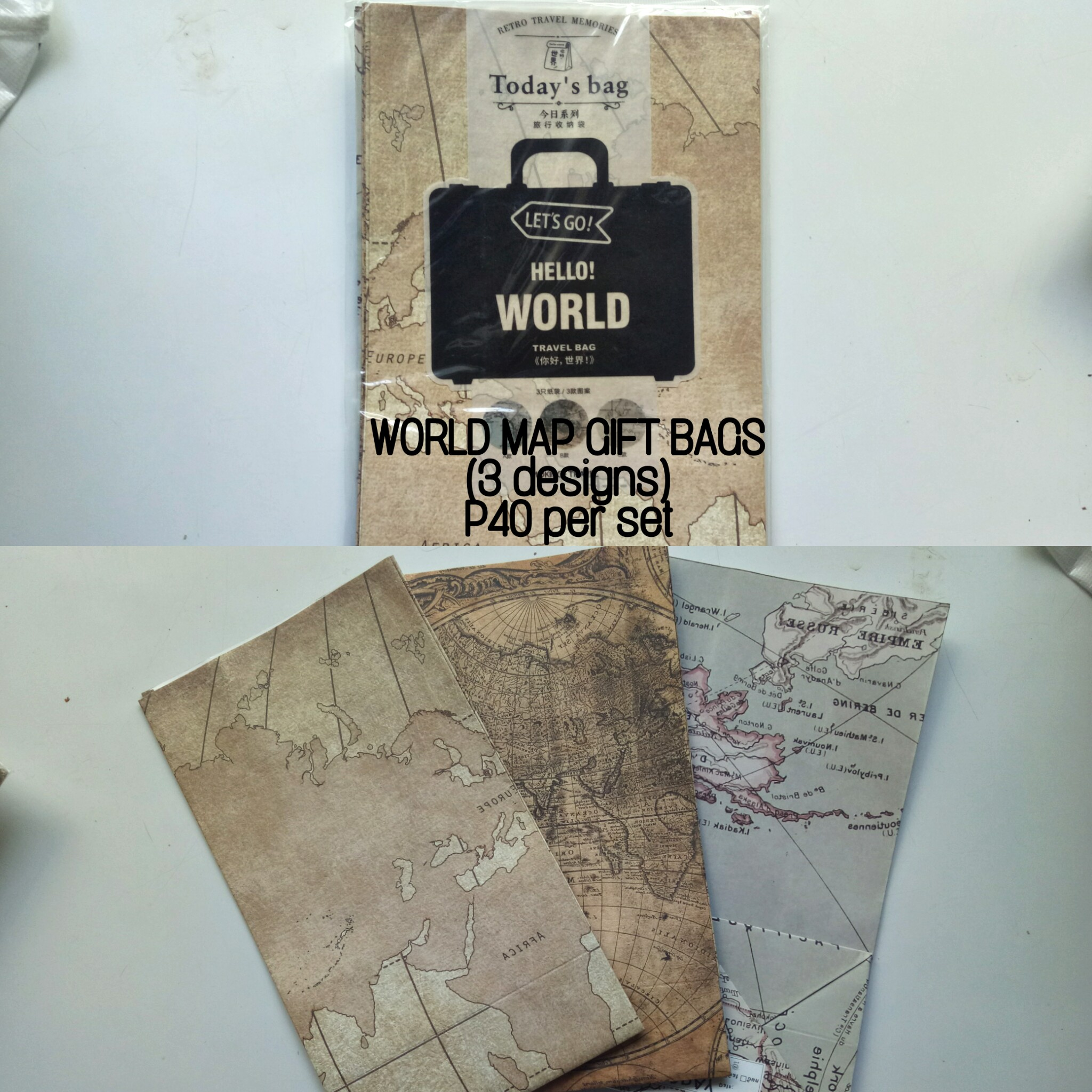 World Map Gift Bags.Onhand World Map Giftbags Set Of 3 Design Craft Others On
