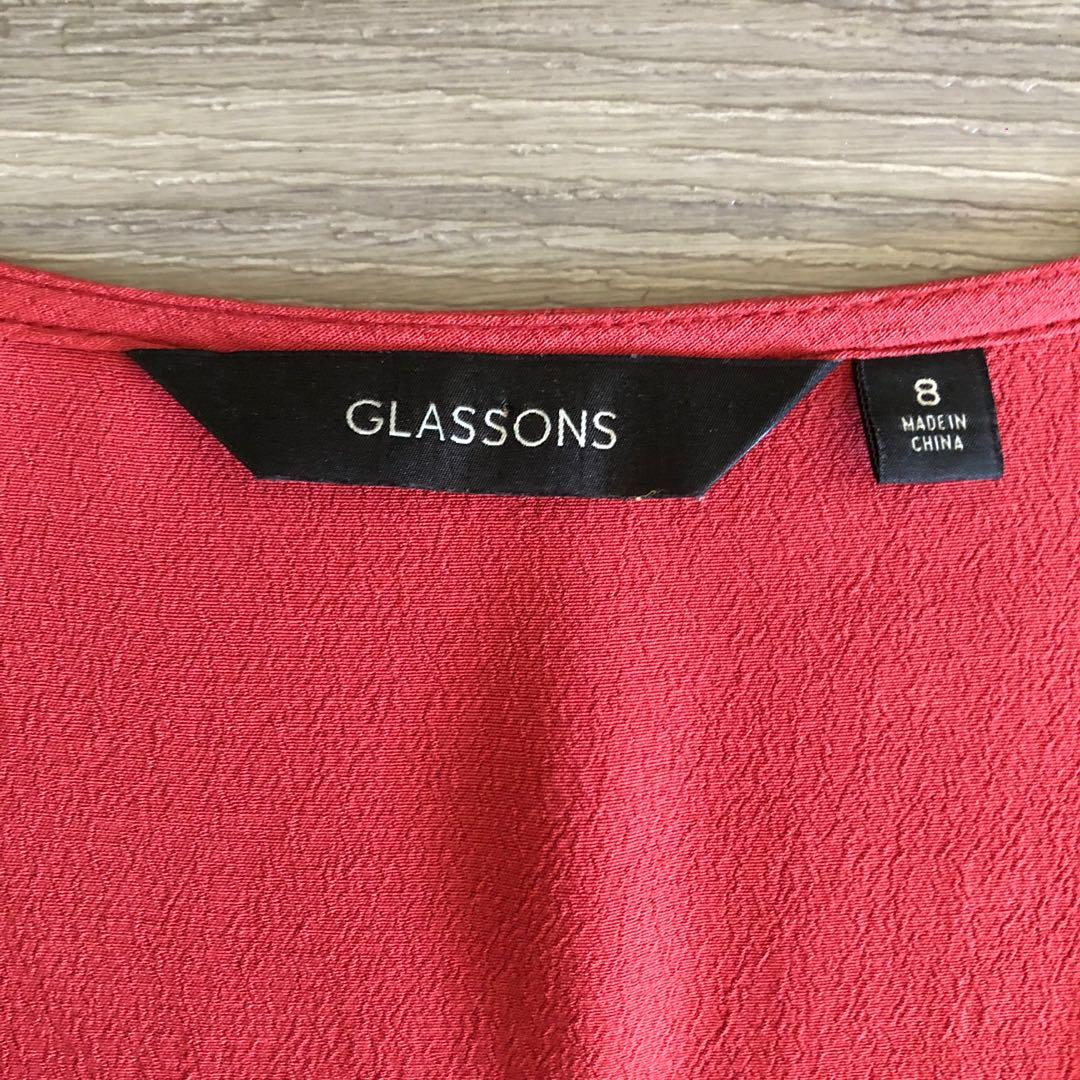 Red Glassons Button Up Top / Blouse