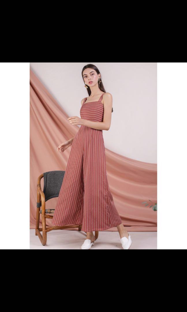 1ede28b3350d TTR Donna Wide Leg Jumpsuit - Terracotta Stripes