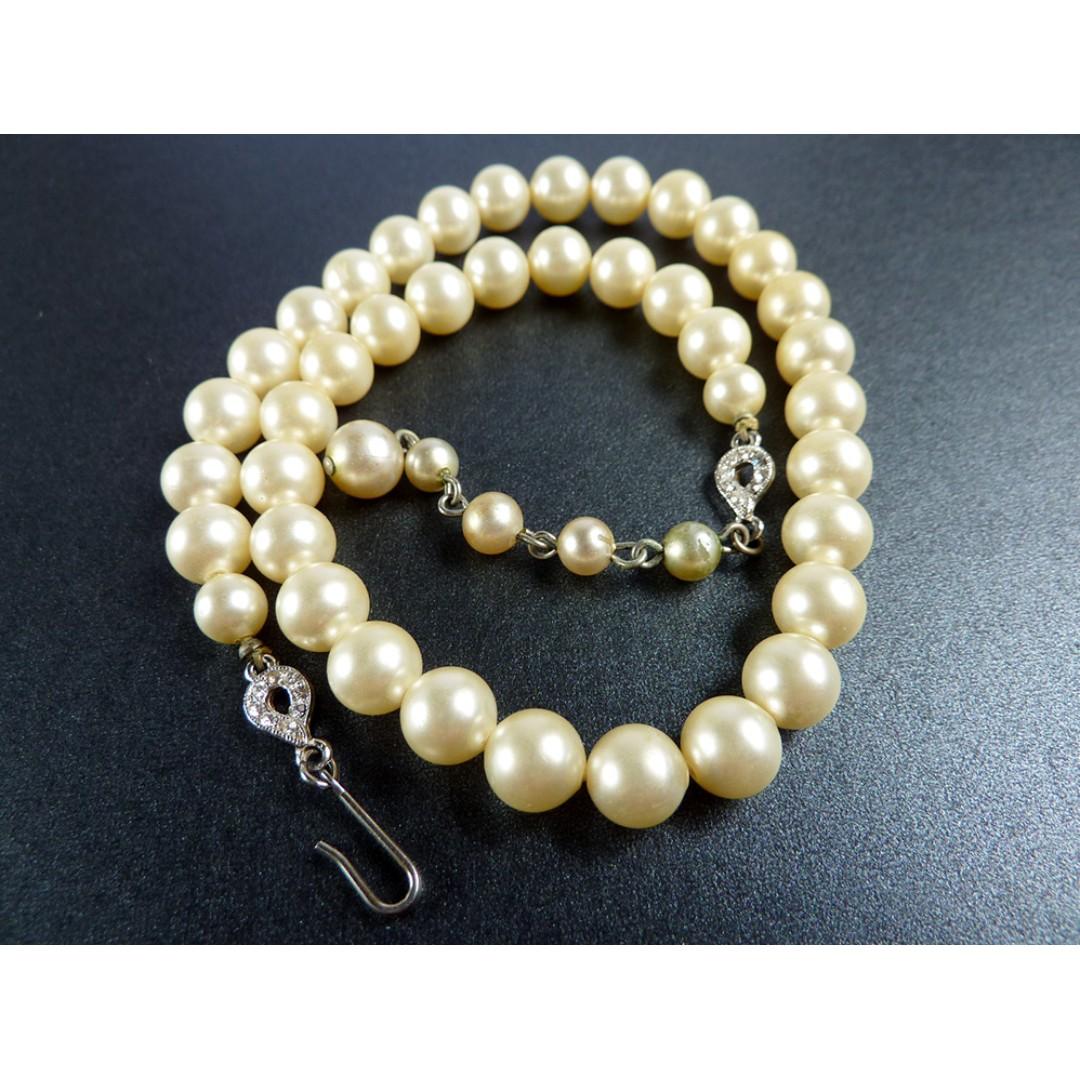 4b640f15bdb34 Vintage 1950s Faux Pearl Choker Necklace, nk575