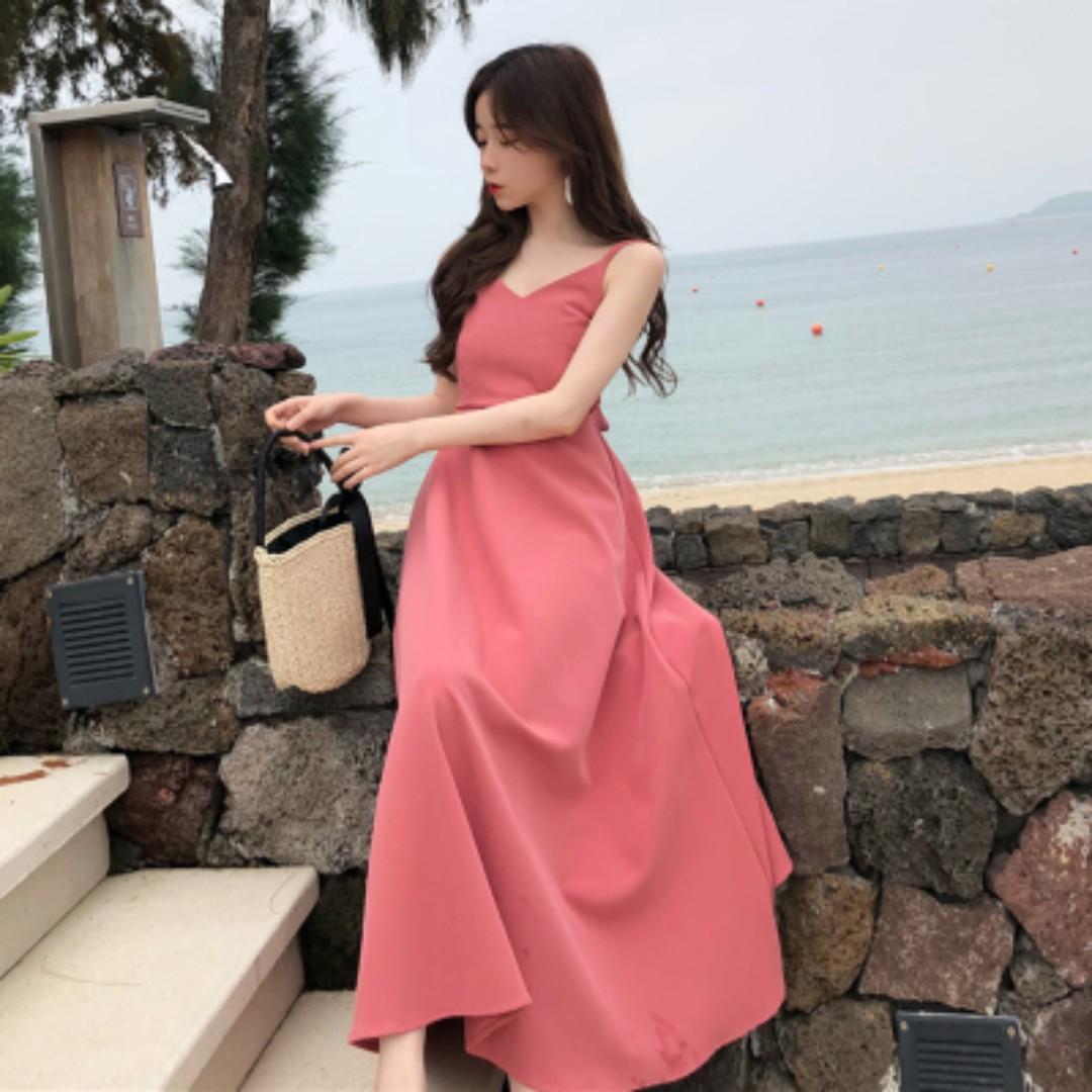 d297856cc3886 Women Beach Skirt Back Straps Long Skirt High Waist Dress Solid ...