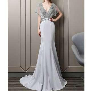 Ladies - Helena Crystalline Fishtail Evening Gown L1859