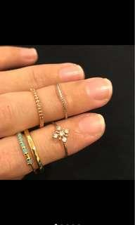 🚚 民族風天藍串珠金色戒指、金色水鑽北極星戒指、銀色滿天星戒指、玫瑰金點鑽戒指