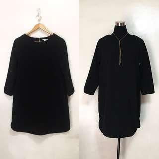 H&M Plain Black Long Sleeves Straight Dress