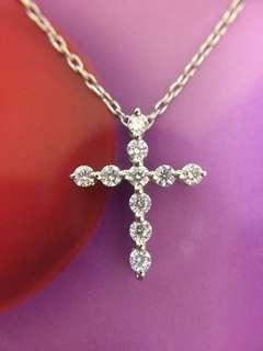 💒✨ 鉑金天然鑽石十字架吊咀 ✨💒