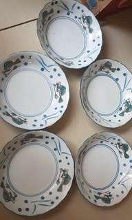 Piring keramik cina motif ikan (take all 5)