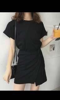 Black oversized wrap dress