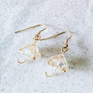 Elegant Glittery Umbrella Earrings 16K Gold Plated