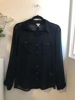 Sheer Black Button Up