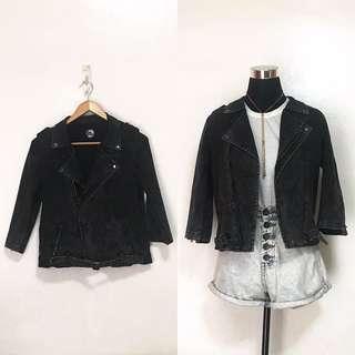 Dark Grey Acid-Washed Denim Jacket Blazer Coat
