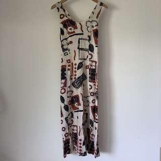 🚚 幾何圖騰棉麻洋裝
