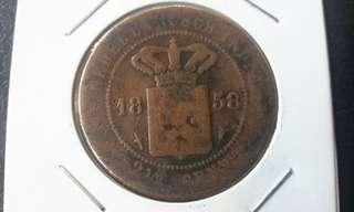 Old Coins 1858 Netherland Indie-copper
