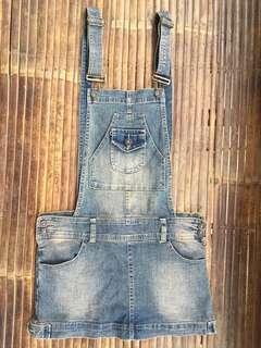Overall Denim Mini Skirt