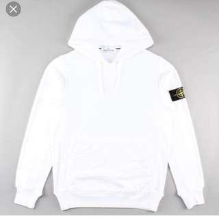White stone island hoodie