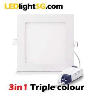 3 Colour LED Flat Panel 12W Downlight Square/Round Triple Colour Switchable 1yr Warranty