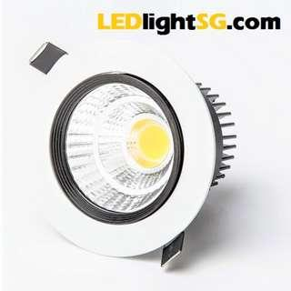 LED COB 3W / 7W Downlight Spot Lamp 1 Yr Warranty (White & Warm White) Round