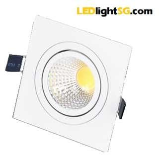 LED COB adjustable Downlight Spotlight 7W Square taiwan chip & driver 1yr warranty (white/warm white)