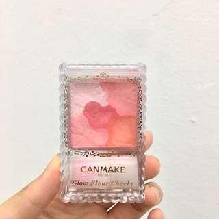 🚚 CANMAKE 花漾戀愛修容組 02 glow fleur cheeks 腮紅 二手 6成新 (原價300多)