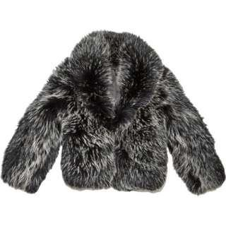 RTA BLACK/GREY FUR COAT