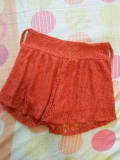 Dark orange laced shorts