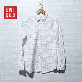 Kemeja UNIQLO Flannel Shirt Plaid White