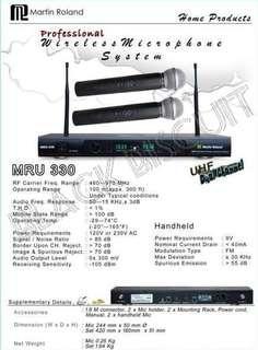 Martin Roland MRU330 Wireless Microphone Karaoke Mixer