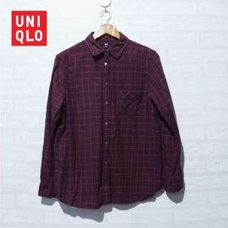 Kemeja UNIQLO Flannel Shirt Plaid Maroon