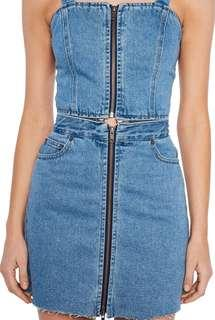 Denim Bardot dress size 10 rrp $140
