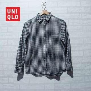 Kemeja UNIQLO Flannel Shirt Dark Grey