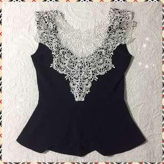 White Lace & Navy Top