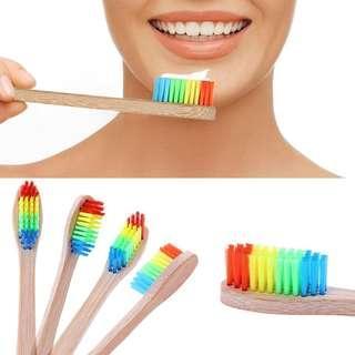 🌟LAST 5 PCS🌟🍭Soft Bristle Rainbow Head Bamboo Toothbrush🍭